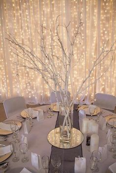 Diy winter wedding reception ideas elegant lighting for weddings winter wedding ideas gold and white wedding colors 8 romantic winter wedding color combos for 2018 color combos romantic wedding winter new Winter Wonderland Decorations, Winter Wedding Decorations, Table Decorations, Winter Wonderland Wedding Theme, Winter Wedding Ideas, Centerpiece Ideas, Branch Centerpiece Wedding, Winter Wonderland Themed Party, Wedding In The Snow