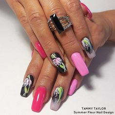 """Tammy Taylor """"Summer Fleur"""" Nail Design by Gisela Marti, Tammy Taylor's Creative Director! Find out how to do these incredible nails by going on the Tammy Taylor Nails Pinterest Page and looking under Nail Tutorials!  tammytaylornails.com"""