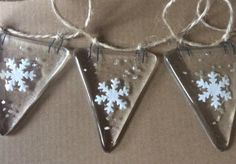 Fused Glass Snowflake Bunting Christmas Garland Decoration
