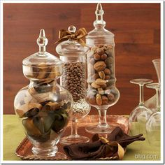 nut filled apothecary jars