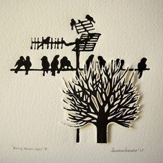 Original linocut print of free black birds lying on antenna and a cut out tree. on Etsy, $27.50