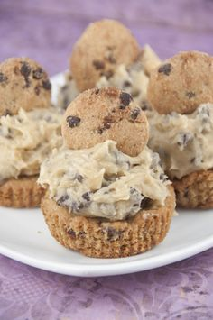 This is the ultimate chocolate dessert cookie cup recipe: thick Chocolate Chip Cookie Cups with Cookie Dough Frosting baked in a cupcake tin with rich, egg-free chocolate chip cookie dough mounded on top.