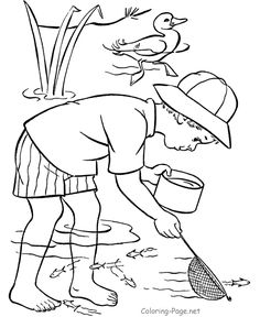 Summer coloring page - Dipping for minnows