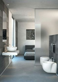 we invite you to watch our beautiful 2017 photo gallery of modern partition wall designs and ideas( plasterboard partition walls, glass room partition walls, room divider curtains, wooden partition design ideas Bathroom Glass Wall, Open Bathroom, Glass Room, Bathroom Interior, Design Bathroom, Shower Bathroom, Bathroom Ideas, Bath Design, Master Bathroom