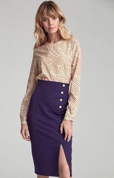 Ołówkowa spódnica Nife fioletowa csp10 Skirts, Fashion, Moda, Fashion Styles, Skirt, Fashion Illustrations, Gowns, Skirt Outfits