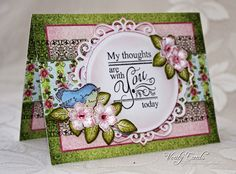 Card made with papers stamps and dies from the Birds and Blooms Collection from Heartfelt Creations. Made by Liz Walker
