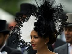 Princess Haya of Jordan wears an ornate hat in the parade ring on the third day of the Royal Ascot horse racing meeting 2014