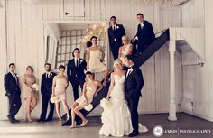 Casual staircase shot of the wedding party! Bridal Party Poses, Wedding Poses, Wedding Couples, Wedding Ideas, Wedding Photography Inspiration, Wedding Inspiration, Must Have Wedding Pictures, Wedding Bells, Dream Wedding