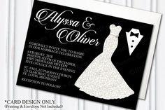 Dress & Tuxedo Wedding Invitation, Bride, Groom, DIY, PRINTABLE  by H20WhiteLacePromises on Etsy