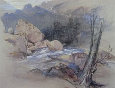 John Ruskin (1819-1900) Chamouni, Rocks and Stream, 1842 Watercolour