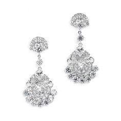 Vintage Glam CZ Wedding Earrings by Mariell - Affordable Elegance Bridal -