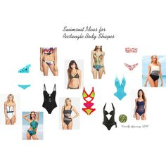 """Swimsuit Ideas for Rectangle Body Shapes"" by visuallyappealingllc on Polyvore"