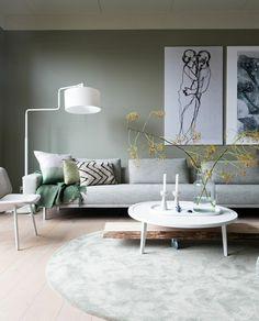 Camouflage green - Flexa - Kleur muur - VT Wonen Interior Concept, Home Interior Design, Interior Styling, Scandinavian Living, Home Trends, Upholstered Sofa, Living Room Designs, Sweet Home, House Design