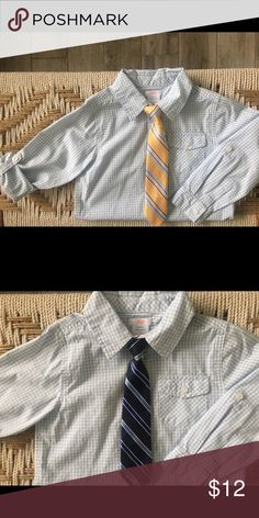 92e52bc3885 Dress shirt   (2) ties bundle Little boys pale blue   white gingham button