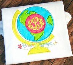 Globe Monogram Applique - 4 Sizes! | What's New | Machine Embroidery Designs | SWAKembroidery.com Creative Appliques
