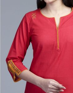 A unique amalgam of craft and trend. This mini kurta made using cotton fabric… Neck Designs For Suits, Sleeves Designs For Dresses, Neckline Designs, Dress Neck Designs, Sleeve Designs, Blouse Designs, Churidar Neck Designs, Salwar Designs, Kurta Designs Women