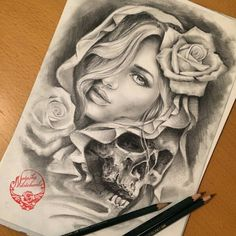 Pencil sketch by _____ _____ - worldofpencils Payasa Tattoo, Skull Girl Tattoo, Girl Face Tattoo, Skull Tattoos, Body Art Tattoos, Girl Tattoos, Sleeve Tattoos, Tattoo Pics, Tattoo Sketches