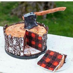 Lumberjack Cake from (Cake Design) Cookies Et Biscuits, Cake Cookies, Cupcake Cakes, Jenny Cookies, Kid Cakes, Fancy Cakes, Cute Cakes, Yummy Cakes, Beautiful Cakes
