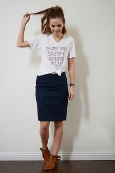 idea to dress down a pencil skirt: graphic tee or plain color tee tied at waist