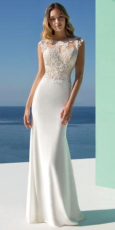 696e697ce7  136.79  Romantic Tulle   Chiffon Bateau Neckline Natural Waistline  Sheath Column Wedding Dress With Lace Appliques