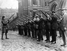 1914: Members of the London Scottish Regiment undertake rifle drill. The London Scottish Regiment was formed by Lord Elcho, 10th Earl of Wemyss, in 1859 as the London Scottish Rifle Volunteers. They are affiliated to the Gordon Highlanders and wear the Elcho tartan (Hodden Grey)