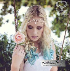 Bohemian Bride pearl headpiece Headband Circlet pearl drops