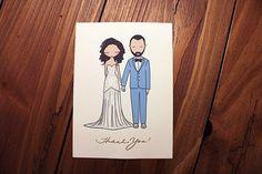 Custom Wedding Illustration Thank You Note Card by CohortPaperie #cohortpaperie #wedding #thankyou