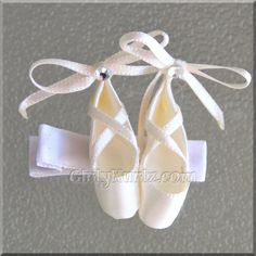 Cream Satin Ballet Slipper Hair Clip