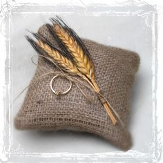 Wheat And Burlap Ring Bearers Pillow - Rustic Country Wedding - Southern Weddings - Tan, Brown, Neutral - Barn, Western, Farmstead - Fall. $17.00, via Etsy.