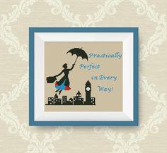 BUY 2, GET 1 FREE! Mary Poppins cross stitch pattern, Quotes cross stitch pattern, Instant Download, pdf counted cross stitch pattern, P189 by NataliNeedlework on Etsy