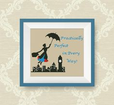 BUY 2, GET 1 FREE! Mary Poppins cross stitch pattern, Quotes cross stitch pattern, Instant Download,  pdf counted cross stitch pattern, P189 by NataliNeedlework on Etsy