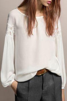 Incredibly Feminine / White Chiffon w/ Lace + Chic Grey Trousers