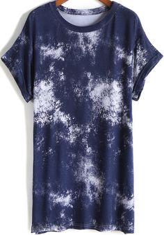 Navy Short Sleeve Ink Print Loose T-Shirt -SheIn(Sheinside)