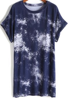 T-Shirt Kurzarm mit Tinte Print-marineblau 13.96
