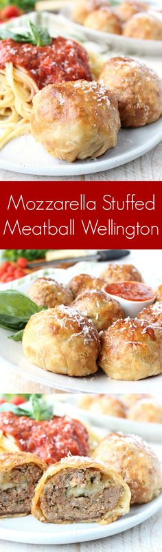 Mozzarella Stuffed Meatball Wellington - kick up your spaghetti & meatball game with juicy meatballs filled with mozzarella cheese, wrapped in puff pastry & baked to golden perfection!