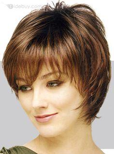 Peluca de cabello humano corto liso sin gorra (Envío Gratuito)