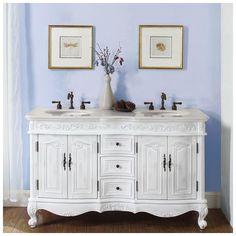 """Best Deal - silkroad exclusive double 58"""" Bathroom Vanity, hyp-0145-58"""