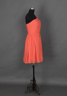 Popular One Shoulder Short Bridesmaid Dress Coral by DressbLee, $89.00