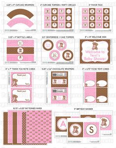 Printable DIY Pink and Brown Teddy Bear Theme Personalized Girl SMALL Baby Shower Package via Etsy
