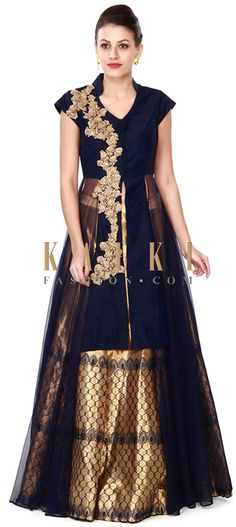 Buy this Gold lehenga with navy blue long embroidered blouse only on Kalki