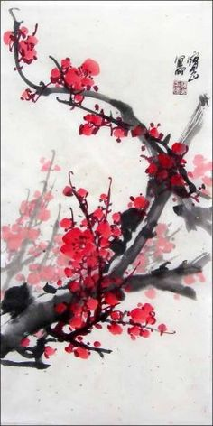 100% Hand Painted Chinese Watercolor Painting Vivid Red Plum Blossom