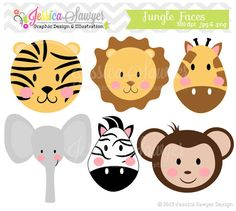 Jungle Animal Clipart, Jungle Baby Shower Idea, Safari Party