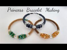 Princess Bracelet Making Diy Jewelry, Beaded Jewelry, Beaded Necklace, Unique Jewelry, Crystal Jewelry, Making Bracelets With Beads, Bracelet Making, Gold Bracelets, Diamond Earrings