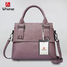[WHORSE] Fashion Serpentine Ladies Hand Bag 2017 Luxury Soft Genuine Leather Handbag Women Crossbody Messenger Bags Tote W0846 #Affiliate