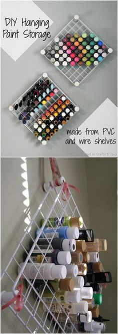 DIY PVC and Wire Shelf Hanging Paint Storage. Make this clever storage system shelf from PVC and wire shelves with the openings just in the right size to neatly hold bottles of craft paint! It is both great to organize and display your craft paint! Paint Organization, Craft Paint Storage, Pvc Storage, Wire Storage Shelves, Craft Shelves, Cardboard Storage, Diy Hanging Shelves, Display Shelves, Small Room Organization