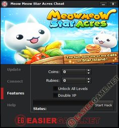 Meow Meow Star Acres Cheat / Hack iOS Android 2014  Features: - Unlimited Coins. - Unlimited Rubies. - Unlock All Levels. - Double XP.  http://easiergame.net/meow-meow-star-acres-cheat-hack-ios-android/