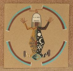 """Navajo Indian Medicine Sand Painting by """"Thomas"""" Framed Native American Art 6x6"""""""