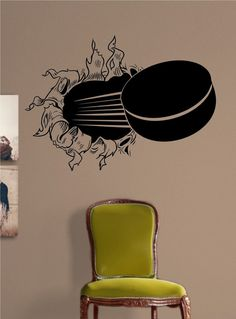Ice Hockey Puck Ripping Bursting Through Wall by Decals4YourWalls