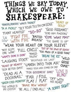 Interesting...Things we say today we owe to Shakespeare. He also invented over 1,700 words that are commonly used today.