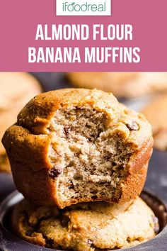 Low carb and gluten free Almond Flour Banana Muffins Recipe that is entirely sugar free, not even honey. These blender muffins melt in your mouth and kids love them! #ifoodreal #cleaneating #healthy #recipe #recipes #snack #glutenfree